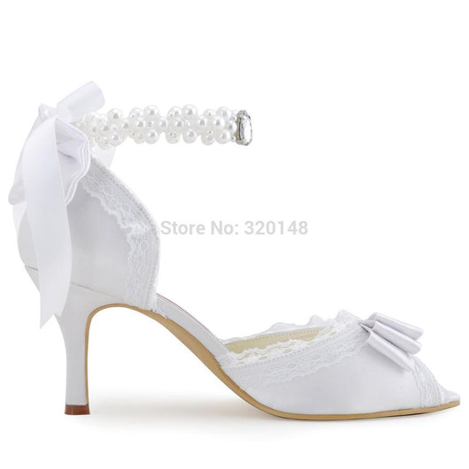 f2d93ae5266 ... Ivory or White High Heel Pearls Ankle Strap Peep Toe Bow Satin Ladies  Bridal Pumps ...