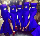 Sexy Satin Mermaid Bling Bridesmaids Dresses at Bling Brides Bouquet - Online Bridal Store