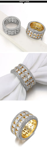 Zircon CZ Crystal Wedding Band Ring Unisex Ring for Women & Men Gold Silver Color