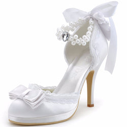 Ivory or white Closed Toe Stiletto Heel Bow Pearls Strap Satin and Lace Pumps Wedding Bridal Shoes