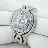 2.1Ct 3Pcs Solid 925 Sterling Silver Stunning Wedding Ring Set