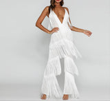Tassel V Neck Sexy Jumpsuit Women elegant tiered wedding Jumpsuits