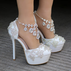 Bling Bridal Crystal Wedding Shoes ankle strap Bridal heels