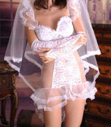 Bridal lingerie with veil.  Sexy white lace night dress with veil.