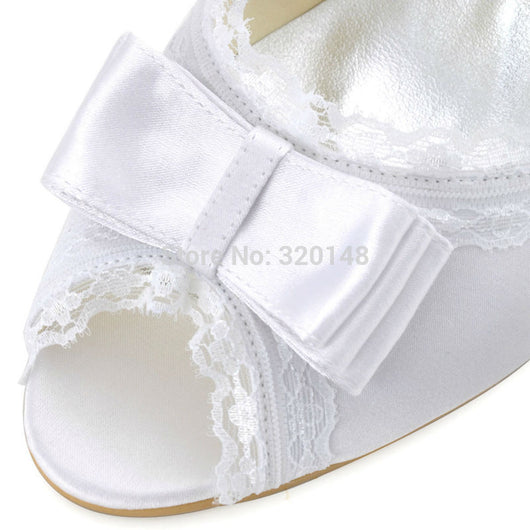 4386f1468 Ivory or White High Heel Pearls Ankle Strap Peep Toe Bow Satin Ladies  Bridal Pumps ...