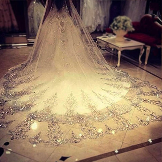 3.5m Long Wedding Veil White Ivory Bling Sparkling Crystal Bridal Veil
