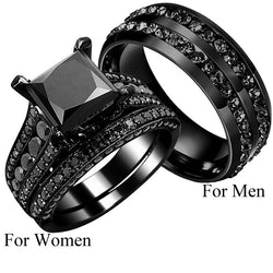Black Princess Cut Zircon Engagement Ring Set His Her Couple Ring