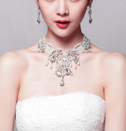 Crystal pearl bridal jewelry sets wedding necklace earrings  Wedding Jewelry