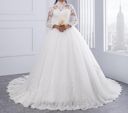 High Neck IIIusion Back Long Sleeve Wedding Dress Lace Ball Gown ...