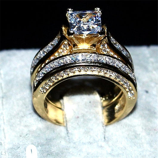 Crystal Engagement Wedding  Rings At Bling Brides Bouquet color Gold