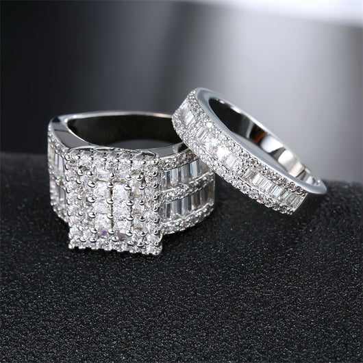 Princess cut  2 Pieces Wedding Ring Set  Engagement Rings For Women
