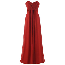 Ball Gown Strapless Long bridesmaids dresses wedding party prom gown
