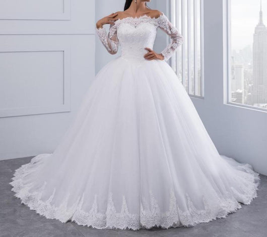 Lace Wedding Dress Long Sleeves Off Shoulder Tulle Puffy Bridal Gowns