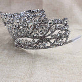 Silver Wedding Tiara +matching earring Crystal Bridal pageant Crown