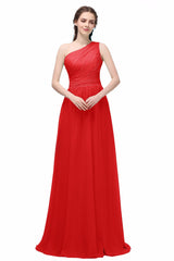 Long Chiffon one shoulder Bridesmaid Dress At Bling Brides Bouquet - Online Bridal Store