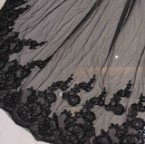 Two Layers Sequins Lace Edge 3 Meters Black Long Wedding Veil with Comb