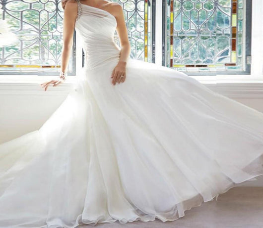 Sexy Long Chiffon Wedding Dresses One Shoulder Beaded Bridal Gowns