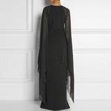 Womens Chiffon Evening Dress With batwing long sleeves and side slit