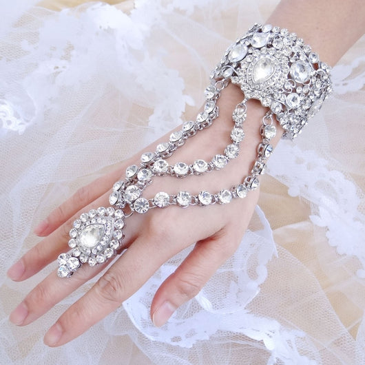 Teardrop Bridal Bangle Bracelet Ring Set Wedding Party Bridal Jewelry