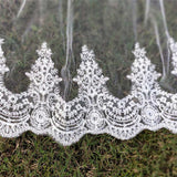 2 Layers Sequins Lace Cathedral Wedding Veils with Comb Long White or Ivory Veil
