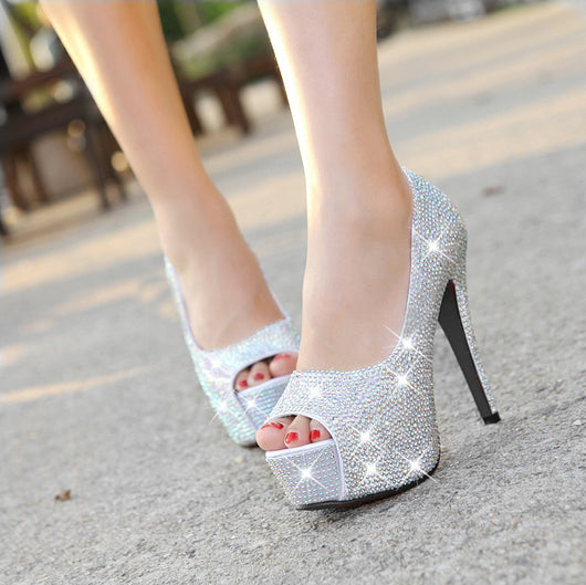 Sparkling rhinestone wedding shoes open toe high-heeled shoes women's party bridal shoes
