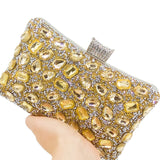 Women Gold Crystal Evening Purse Wedding Party Prom Rhinestone Handbag