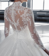 High Collar Sheer Long Sleeves Lace Ball Gown Wedding Dresses