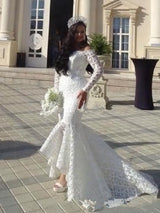 High Low Lace Mermaid Wedding Dresses off Shoulder Long Sleeve Bridal Gown