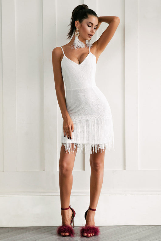 Sexy v neck white lace women dress Elegant fringe  party club backless bodycon dress