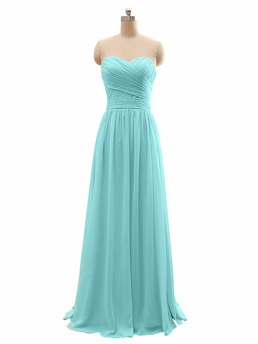Long Chiffon strapless  Bridesmaid Dress At Bling Brides Bouquet - Online Bridal Store