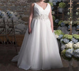 V-neck Organza A-line Wedding Dress  at Bling Brides Bouquet online Bridal Store