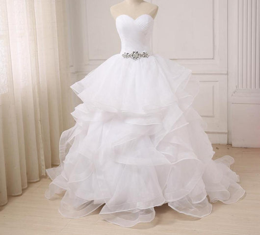 Gorgeous Beaded Ball Gown Wedding Dresses Ruffled Organza Bridal Dress