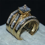 20ct Cz Wedding ring 14KT White Gold Filled 3-in-1 Engagement Wedding Band Ring Set