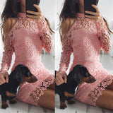 Cold Shoulder Lace Long Sleeve Pink Party Evening Short Mini Dress
