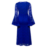 Plus Size Lace Maxi Dress With  Flare Sleeve Floor-Length Mermaid Dress