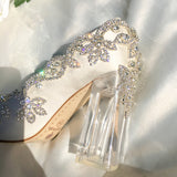 Bling Bridal  Crystal Wedding Shoees  Satin Silk Pumps