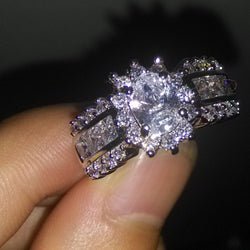 10KT Gold Filled AAA Cubic Zirconia Diamonique Wedding Engagement Ring