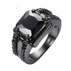 Black Gothic  Mens Wedding Rings Vintage  engagement Ring for men