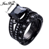 Black Zircon Ring Sets Gothic  Wedding Rings For women
