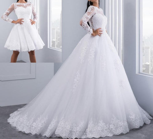 Ball Gown Wedding Dresses with Detachable train Lace Appliques Pearls Bridal Gowns