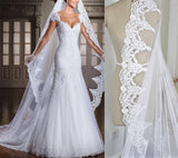 Cathedral Length Wedding veils with Lace edge color White/ Ivory