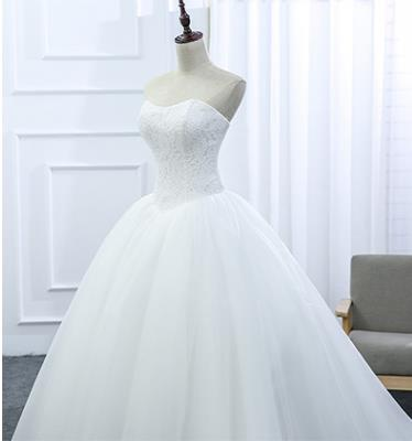 Lace Strapless Sleeveless White Satin Bridal Wedding Dress Wedding Ball Gown