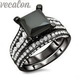 Black Wedding Band Ring Set for Women and men 4ct  5A Zircon ring