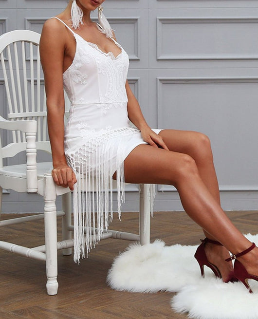 Sequin fringe tassel sexy party dress V neck slim bodycon summer dress