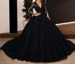 Black Gothic Wedding Dresses Ball Gown V Neck Wedding Dress
