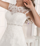 A Line Bridal Cap Sleeved Wedding Dress Corset Back Bridal Gown