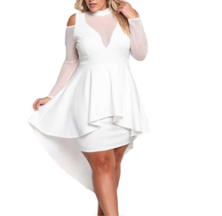 Cold shoulder party dress  with high low hem