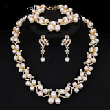Simulated Pearl Bridal Jewelry Set  Earrings Bracelets Necklace Sets
