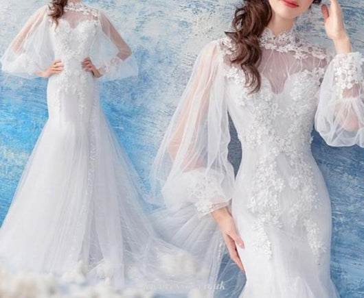 Long Sleeved Bridal Gown mermaid corset back garden beach wedding gown