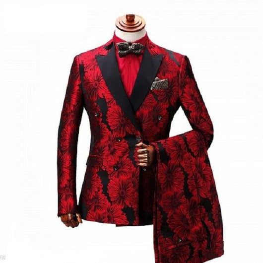 Mens  Double Breasted Suit  Men Tuxedo Prom Party Suits